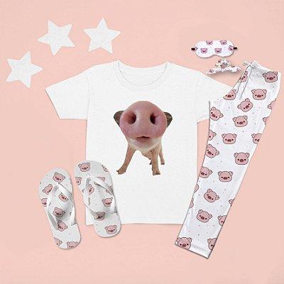 Combo Pijama longo + Camiseta Curta Porco Focinho