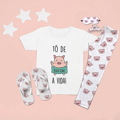 Combo Pijama longo + Camiseta Curta Porco Língua