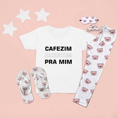 Combo Pijama longo + Camiseta Curta Cafezim