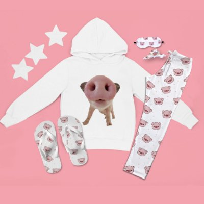 Conjunto Moletom Peluciado Capuz Porco + Calça Pijama + Chinelo de dedo