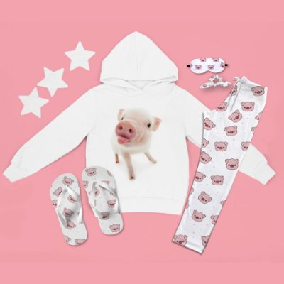 Conjunto Moletom Peluciado Capuz Porco Língua + Calça Pijama + Chinelo de dedo
