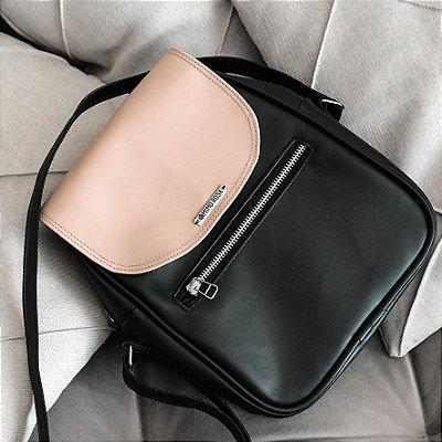 Bolsa Shoulder Bag Lolly Preta e Nude