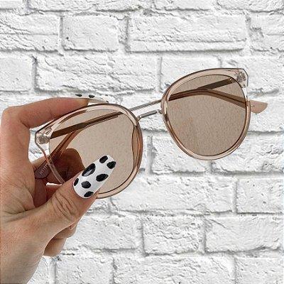 Óculos de Sol Sunglasses Redondo Nude Com Dourado