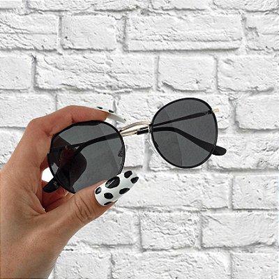 Óculos de Sol Sunglasses Redondo Preto com Dourado