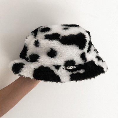 Chapéu Bucket Hat Cow Print Estampa Vaca Peluciado