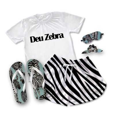 Conjuntinho Pijama  Deu Zebra + Chinelo