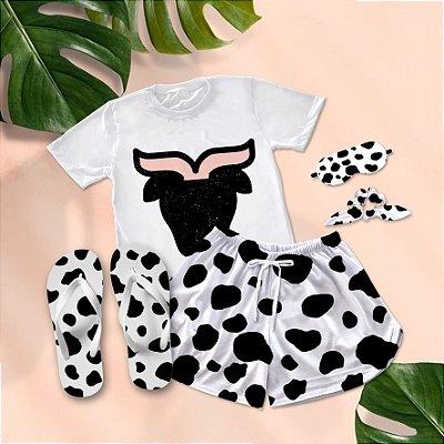 Conjunto Pijama Vaca + Chinelo de dedo