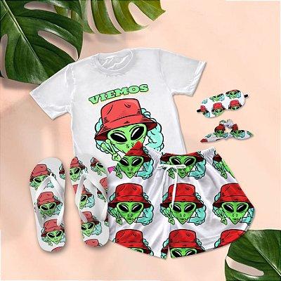Conjunto Pijama Alien Viemos em Paz + Chinelo de dedo