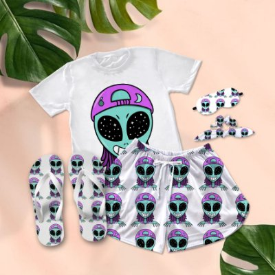 Conjunto Pijama Alien Boné Fuck You + Chinelo de dedo