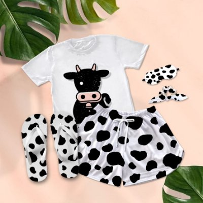 Conjunto Pijama Vaca Preta e Rosa + Chinelo de dedo