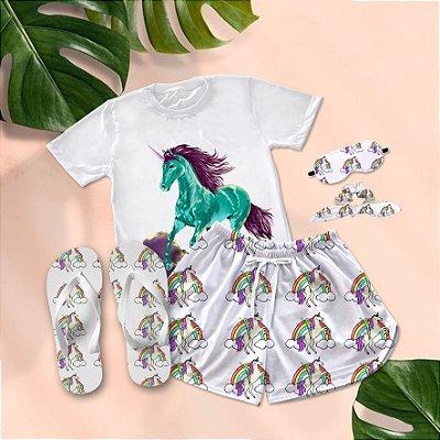 Conjunto Pijama Unicórnio + Chinelo de dedo