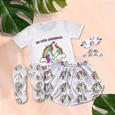 Conjunto Pijama Unicórnio Colorido Eu não Acredito Em Humanos + Chinelo de dedo