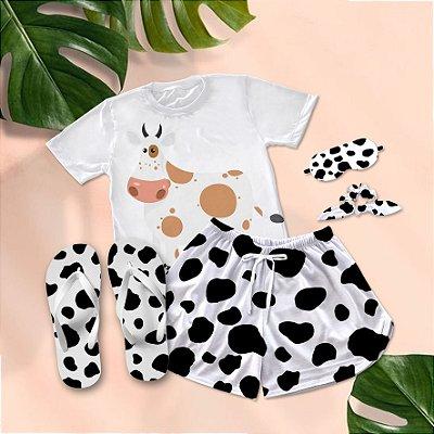 Conjunto Pijama Vaquinha Desenho Marrom + Chinelo de dedo