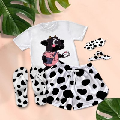 Conjunto Pijama Vaca Cow Print + Chinelo de dedo