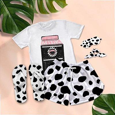 Conjunto Pijama Leite de Vaca Milk + Chinelo de dedo