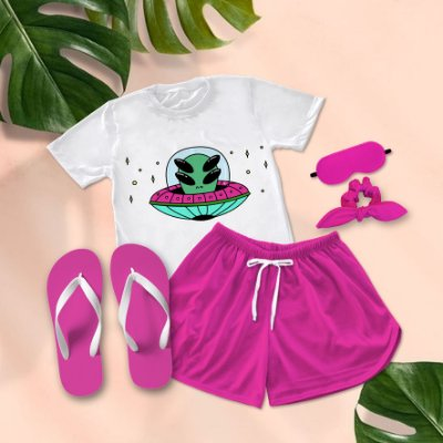 Conjunto Pijama Alien Disco Voador +  Chinelo de dedo
