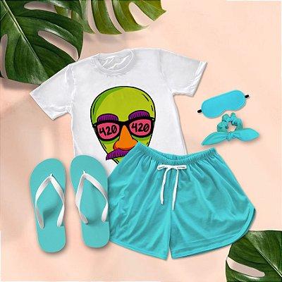Conjunto Pijama Alien 420  + Chinelo de dedo