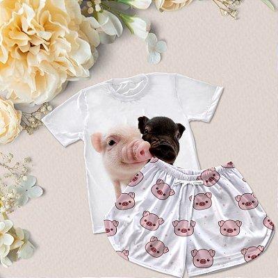 Conjuntinho Pijama Shorts e Camiseta Dois porquinhos