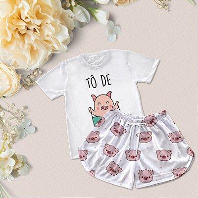 Conjuntinho Pijama Shorts e Camiseta Tô de Bacon a Vida