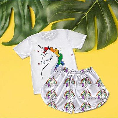 Conjuntinho Pijama Shorts e Camiseta Unicórnio