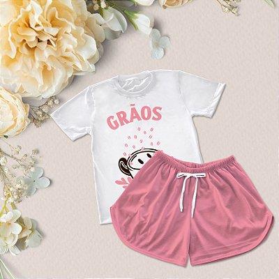 Conjuntinho Pijama Shorts e Camiseta Grãos