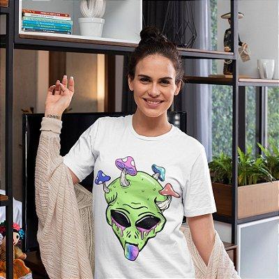 Camisola Feminina Branca Manga Curta Estampa Alien