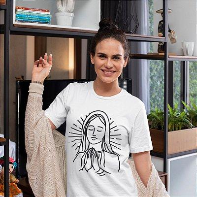 Camisola Feminina Branca Manga Curta  Estampa Nossa Senhora