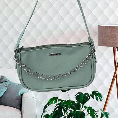 Bolsa Baguete Verde Água com corrente
