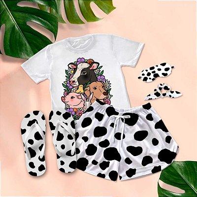 Conjunto Pijama Trio mais fofo + Chinelo de dedo
