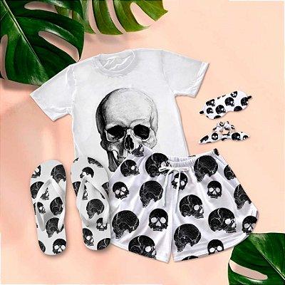 Conjunto Pijama Caveira + Chinelo de dedo