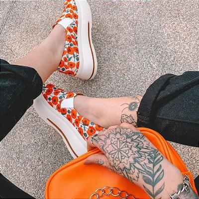 Combo Bolsa Baguete Laranja +  Tênis Slip On Floral