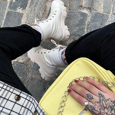 Combo Bolsa Baguete Amarela Corrente + Coturno Off White Zíper