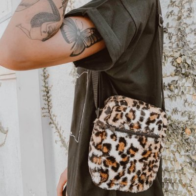 Shoulder Bag Unissex Pelo Animal Print