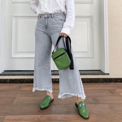 COMBO: MULE VERDE MUSGO CROCO + SHOULDER BAG