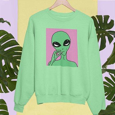 Moletom Peluciado Verde Alien