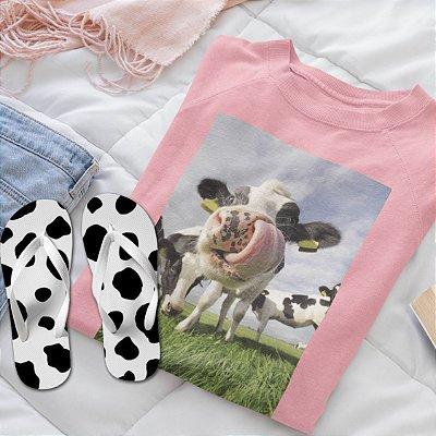 Combo Vaca: Moletom Rosa + Chinelo de dedo
