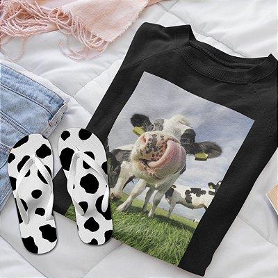 Combo Vaca: Moletom Preto + Chinelo de dedo