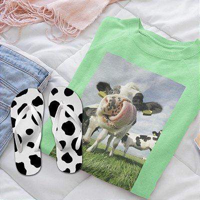 Combo Vaca: Moletom Verde + Chinelo de dedo