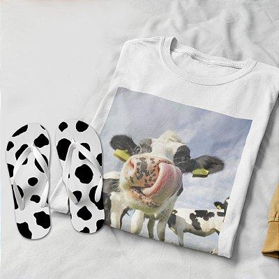 Combo Vaca: T-shirt Branca + Chinelo de dedo