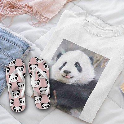 Combo Panda: Moletom Branco + Chinelo de dedo