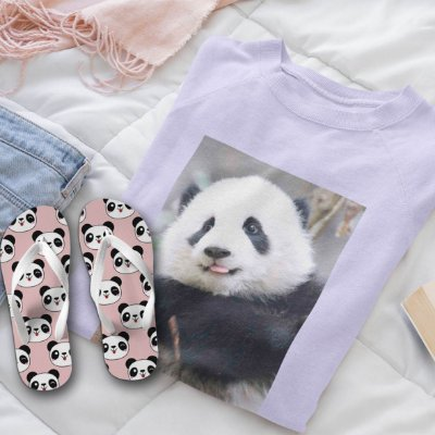 Combo Panda: Moletom Lilás + Chinelo de dedo