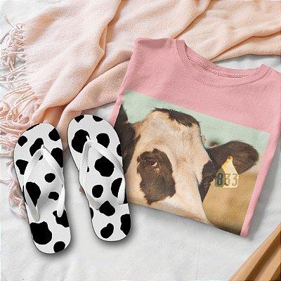 Combo Vaca: T-shirt Rosa + Chinelo de dedo
