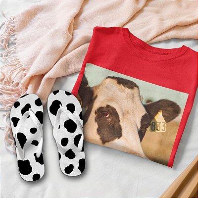 Combo Vaca: T-shirt Vermelha + Chinelo de dedo