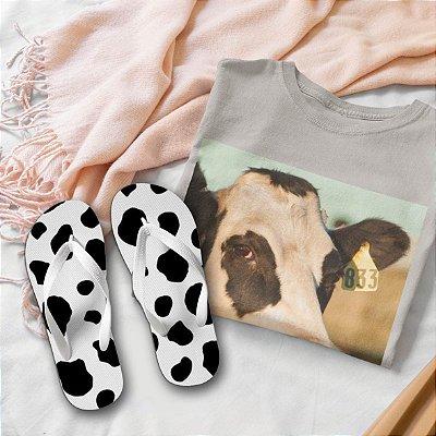 Combo Vaca: T-shirt Cinza + Chinelo de dedo