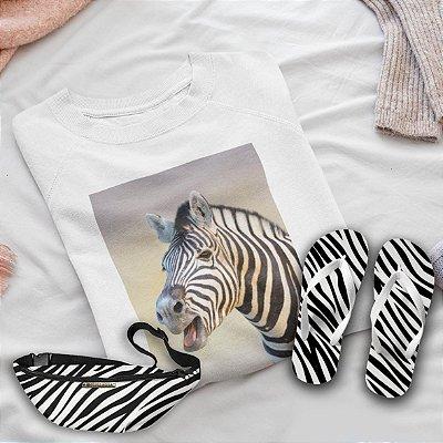 Combo Zebra: Moletom Branco + Chinelo de dedo + Pochete