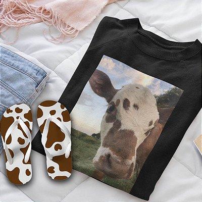 Combo Vaca : Moletom Preto + Chinelo de dedo