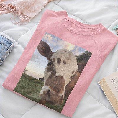 Moletom Peluciado Rosa  Vaca