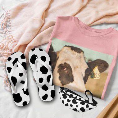 Combo Vaca: T-shirt Rosa + Chinelo de dedo + Pochete