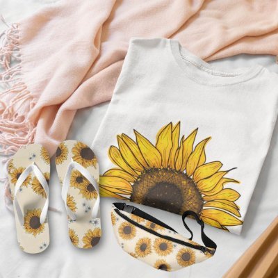 Combo Girassol: T-shirt Branca + Chinelo de dedo + Pochete