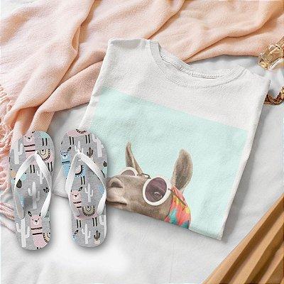 Combo Lhama: T-shirt  + Chinelo de dedo